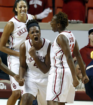 Oklahoma Sooner's Kaylon Williams (42) celebrates stopping a drive by Gonzaga's Lindsay Sherbert in the final minute by taking a charge as Sharane Campbell, right, and Nicole Griffin join in as the University of Oklahoma Sooners (OU) defeat the Gonzaga Bulldogs 82-78 in NCAA, women's college basketball at The Lloyd Noble Center on Thursday, Nov. 14, 2013 in Norman, Okla. Photo by Steve Sisney, The Oklahoman