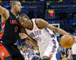 Kevin Durant, right, and the Thunder are trying to wrap up a playoff spot. Photo by John Clanton, The Oklahoman