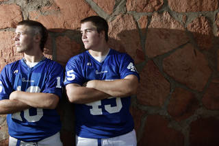 """GUTHRIE HIGH SCHOOL FOOTBALL: Guthrie's Dynamic Duo of quarterback Bryan Dutton, left, and linebacker Landry Chappell will """"Defend The Rock"""" this year, Saturday, August 13, 2011 . Photo by Doug Hoke, The Oklahoman. ORG XMIT: KOD"""