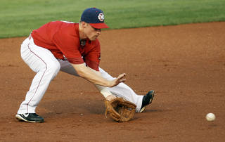Oklahoma City's Brian Bixler (2) fields a ground ball during a minor league baseball game between the Oklahoma City RedHawks and the Round Rock Express at Chickasaw Bricktown Ballpark in Oklahoma City, Thursday, April 26, 2012. Photo by Nate Billings, The Oklahoman