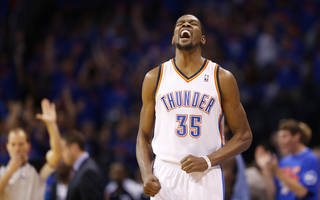 Oklahoma City's Kevin Durant (35) celebrates after a 3-pointer during Game 7 in the first round of the NBA playoffs between the Oklahoma City Thunder and the Memphis Grizzlies at Chesapeake Energy Arena in Oklahoma City, Saturday, May 3, 2014. PHOTO BY NATE BILLINGS, The Oklahoman