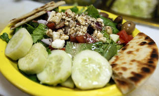 The side Greek salad at Simply Falafel, 343 S. Blackwelder, in Edmond. Photo by Nate Billings, The Oklahoman NATE BILLINGS - NATE BILLINGS