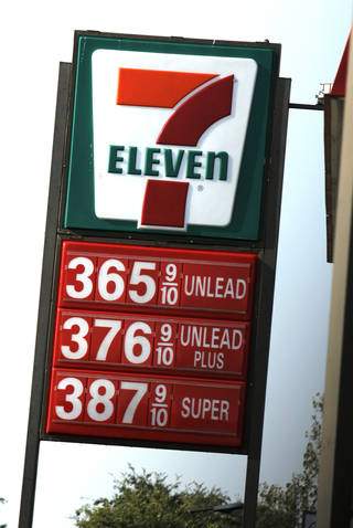 Gas prices are shown Tuesday at 7-Eleven at 7216 N Western in Oklahoma City.