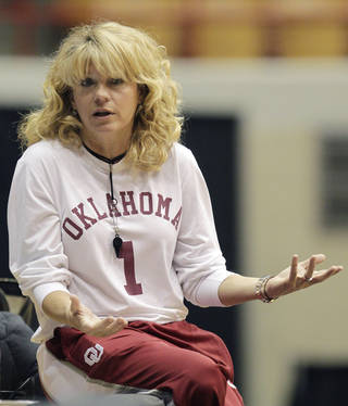 Oklahoma head coach Sherri Coale watches her team warm up during practice for a first-round game of the women's NCAA college basketball tournament Friday, March 22, 2013, in Columbus, Ohio. Oklahoma will play Central Michigan on Saturday. (AP Photo/Jay LaPrete) ORG XMIT: OHJL101
