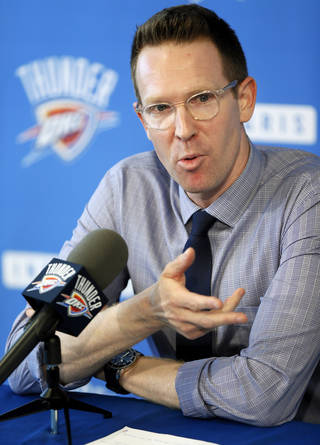 Thunder general manager Sam Presti spoke to the media at the Integris Health Thunder Development Center on Wednesday. Photo by Nate Billings, The Oklahoman