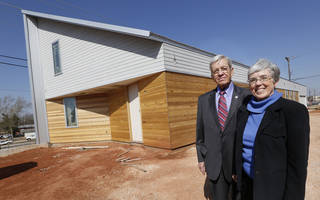 Brian and Ann Dell show their nearly finished home at 925 NW 8. They are moving from the Mesta Park neighborhood where they lived for 41 years, but wanted to stay near the downtown-Midtown area of Oklahoma City. Photos By Steve Gooch, The Oklahoman Steve Gooch -