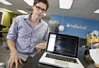 Philip Dow poses for a photo at Oklahoma City-based tech startup company Tailwind Analytics. CHRIS LANDSBERGER - CHRIS LANDSBERGER