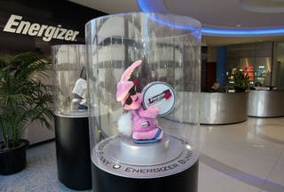 A revolving stuffed Energizer bunny greets visitors to Energizers world headquarters in St. Louis. AP File Photo TOM GANNAM - AP