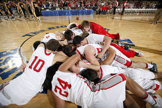 Forgan celebrates their win over Arnett in the championship game of the boys Class B state basketball tournament at the State Fair Arena in Oklahoma City, Saturday, March 3, 2012. Photo by Sarah Phipps, The Oklahoman