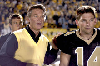 "Former Jenks High School football player Brian Presley, right, stars with Kurt Russell in ""Touchback,"" released today on DVD. PHOTO PROVIDED."