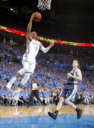 Oklahoma City's Russell Westbrook (0) goes to the basket past Memphis' Beno Udrih (19) during Game 1 in the first round of the NBA playoffs between the Oklahoma City Thunder and the Memphis Grizzlies at Chesapeake Energy Arena in Oklahoma City, Saturday, April 19, 2014. Photo by Sarah Phipps, The Oklahoman