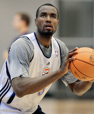 Serge Ibaka shoots at the Oklahoma City Thunder practice facility on Friday, April 27, 2012, in Oklahoma City, Okla. Photo by Steve Sisney, The Oklahoman