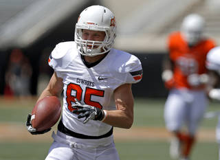Oklahoma State's Blake Webb scores a touchdown during OSU's spring football game at Boone Pickens Stadium in Stillwater, Okla., Sat., April 20, 2013. Photo by Bryan Terry, The Oklahoman
