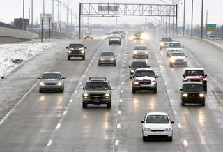 Highways and snow routes in Oklahoma City were relatively clear by Monday morning's commute. Photos by Paul Hellstern, The Oklahoman