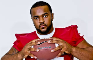Jamarkus McFarland poses for a photo during media day at the University of Oklahoma on Saturday, Aug. 4, 2012, in Norman, Okla. Photo by Chris Landsberger, The Oklahoman