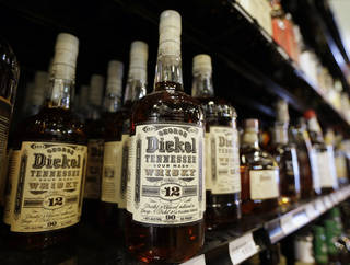 Bottles of George Dickel Tennessee whiskey are displayed in a liquor store Tuesday in Nashville, Tenn. AP Photo Mark Humphrey - AP