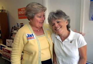Former state lieutenant governor Jari Askins with Tulsa state Rep. Jeannie McDaniel before the 2006 watch party for Askins, when she ran for governor and lost to Gov. Mary Fallin. Photo via Tulsa World.