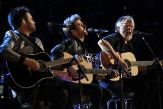 From left, Zach Swon, Colton Swon and Bob Seger perform on the finale of ?The Voice.? PHOTO PROVIDED BY NBC NBC - Trae Patton/NBC