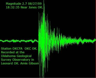 Seismograph image provided by the Oklahoma Geological Survey .