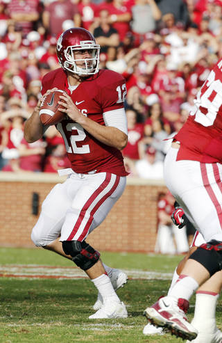 Landry Jones (12) throws during the college football game between the University of Oklahoma Sooners (OU) and the Baylor University Bears (BU) at Gaylord Family-Oklahoma Memorial Stadium in Norman, Okla., Saturday, Nov. 10, 2012. Photo by Steve Sisney, The Oklahoman