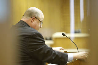 Rebecca Bryan's defense attorney Gary James talks to potential jurors, during jury selection in the Canadian County Courthouse in El Reno , Tuesday May 7, 2013. Bryan is accused of killing her husband, Keith Bryan, 52, who was the Nichols Hills fire Chief. Photo By Steve Gooch, The Oklahoman ORG XMIT: OKC1305011531260289