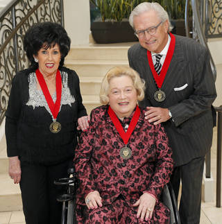 Wall of Fame inductees, from left, Wanda Jackson, Jo Carol Cameron and James Loftis. PHOTO BY NATE BILLILNGS, FOR THE OKLAHOMAN