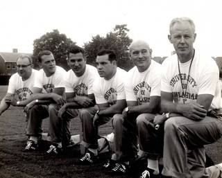 OU coaching staff, from left: Gomer Jones, unidentified, Bobby Drake Keith (third from left), unidentified, unidentified, Bud Wilkinson. PHOTO PROVIDED