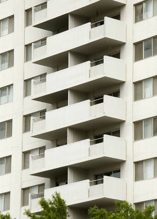 The balconies shown here are on the Regency Tower apartment building in downtown Oklahoma City.