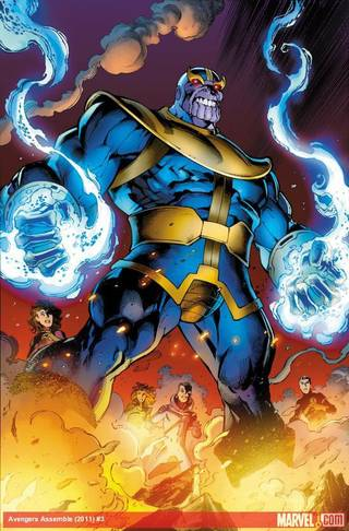 """Thanos as drawn by Mark Bagley in """"Avengers Assemble"""" No. 3. IMAGE PROVIDED BY Marvel Comics"""