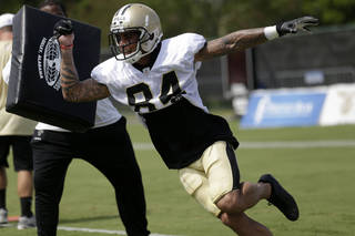 New Orleans Saints wide receiver Kenny Stills (84) during their NFL football training camp in Metairie, La., Tuesday, July 30, 2013. (AP Photo/Gerald Herbert) ORG XMIT: NYOTK