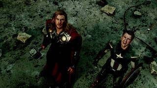 "Chris Hemsworth, as Thor, and Chris Evans, as Captain America, star in Marvel's ""The Avengers."" Photo provided by Marvel Entertainment"