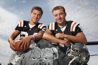 WAYNE HIGH SCHOOL FOOTBALL: Dynamic Duo portrait of Wayne football players Josh Way (24) and Sam Martin (11) for the Class A page of the special section on Saturday, August 20, 2011, in Wayne, Okla. Photo by Steve Sisney, The Oklahoman ORG XMIT: KOD