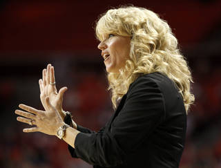 NCAA TOURNAMENT / OU WOMEN'S COLLEGE BASKETBALL: Oklahoma coach Sherri Coale encourages her team during a first round game of the NCAA women's basketball tournament between the University of Oklahoma Sooners and the Michigan Wolverines at Lloyd Noble Center in Norman, Okla., Sunday, March 18, 2012. Oklahoma won 88-67. Photo by Bryan Terry, The Oklahoman