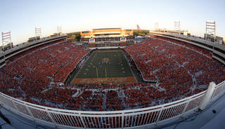 OVERVIEW / CROWD: Boone Pickens Stadium is pictured during a college football game between the Oklahoma State University Cowboys (OSU) and the University of Arizona Wildcats at Boone Pickens Stadium in Stillwater, Okla., Thursday, Sept. 8, 2011. Photo by Sarah Phipps, The Oklahoman ORG XMIT: KOD