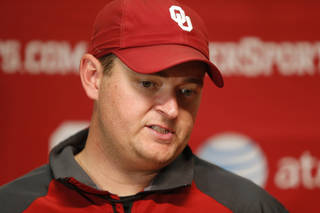 University of Oklahoma co-offensive coordinator Josh Heupel talks after an OU football practice in Norman, Okla., Tuesday, August 7, 2013. Photo by Bryan Terry, The Oklahoman