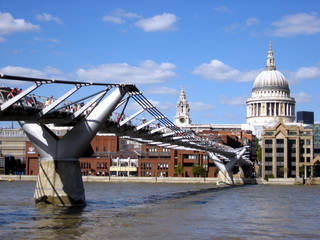 The pedestrian-only Millennium Bridge leads over the Thames to Christopher Wren's masterpiece, St. Paul's Cathedral, which he labored over for more than 40 years. (credit: Cameron Hewitt)