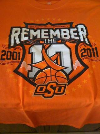 OSU shirts that will be passed out at tonight's game. PHOTO PROVIDED