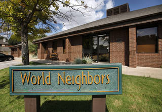 World Neighbors operates out of a unique building at 4127 NW 122. The interior is a hushed maze of unfinished wood. A shop selling fair trade products -- including coffee, jewelry and drums -- is set up near a towering handmade globe just inside the main entrance. Jim Beckel - The Oklahoman