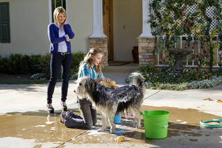 """From left, Candace Cameron Bure, Katie Hawkins and BugZ are shown in a scene from """"Puppy Love."""" HALLMARK CHANNEL PHOTO Alexx Henry"""