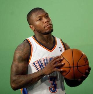 Oklahoma City's Nate Robinson films video segments at the the Thunder practice facility, Saturday, Feb, 26, 2011, in Oklahoma City. Photo by Sarah Phipps, The Oklahoman SARAH PHIPPS