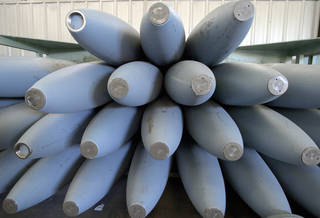 McAlester, OK. Tuesday, 1/25/2005. A stack of 2,000-pound bomb housings wait to be assembled into explosives at the McAlester Army Ammunition Plant Depot. Staff photo by Jim Beckel, The Oklahoman.
