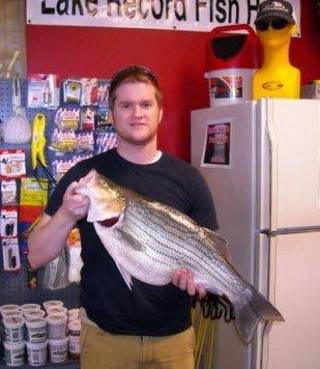 Tyler Reed of Yukon with the new lake record striped bass hybrid from Lake Overholser. Photo provided