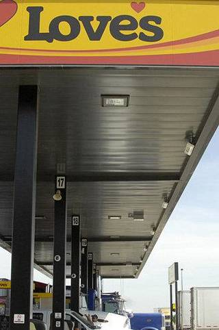 Love's Truck Stops is installing radio-frequency identification equipment to speed up the refueling process for truck drivers. The company successfully tested the technology last week at this location in Pauls Valley. ImageWorks Tammie Riddle Godfrey - provided