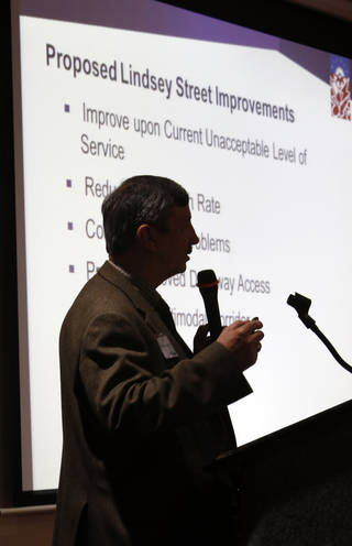 Duane Kranz, project leader with Leidos, speaks Thursday during a public information event on the W Lindsay Street widening project in Norman. Photo by Steve Sisney, The Oklahoman STEVE SISNEY - THE OKLAHOMAN