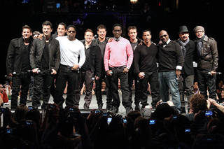 """Members of 98 Degrees, Boyz II Men, and New Kids on the Block, greet fans Tuesday during the announcement of """"The Package Tour,"""" in New York. The summer tour will feature the three bands. AP Photo/Starpix, Kristina Bumphrey"""