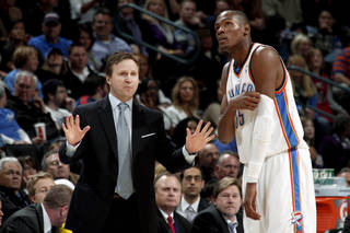 Oklahoma City coach Scott Brooks says Kevin Durant and the rest of the Thunder will get its defense back. The Thunder have given up 102.5 points per game over the past 20 games. PHOTO BY BRYAN TERRY, THE OKLAHOMAN