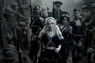 "From left, Abbie Cornish as Sweet Pea, Jena Malone as Rocket, Emily Browing as Babydoll, Scott Glenn as the Wise Man, Vanessa Hudgens as Blondie and Jamie Chung as Amber in ""Sucker Punch."" Warner Bros. photo Clay Enos"