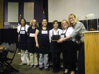 Millie?s Table employees (from left) Candace Jackson, Marla Ford, Carijo Calderon, Roe MacDurmon, owner Millie Shores, and Rotarian Sandy Chappell, who nominated the business for a local Rotary award. - PROVIDED