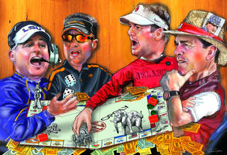 If college football were a game of Monopoly, Les Miles, left, Nick Saban, right, and the rest of the Southeastern Conference would hold all the deeds over Mike Gundy, second from left, Bob Stoops, third from left, and the rest of the Big 12. ILLUSTRATION BY TODD PENDLETON, THE OKLAHOMAN
