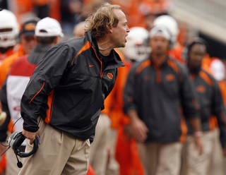 OSU offensive coordinator Dana Holgorsen argues a call during the Cowboys' game against Nebraska earlier this season. PHOTO BY SARAH PHIPPS, THE OKLAHOMAN